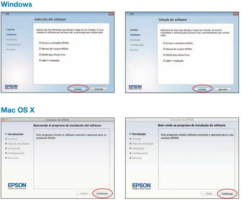 Impresora Epson L355 SOFTWARE DE INSTALACION windows & MAC